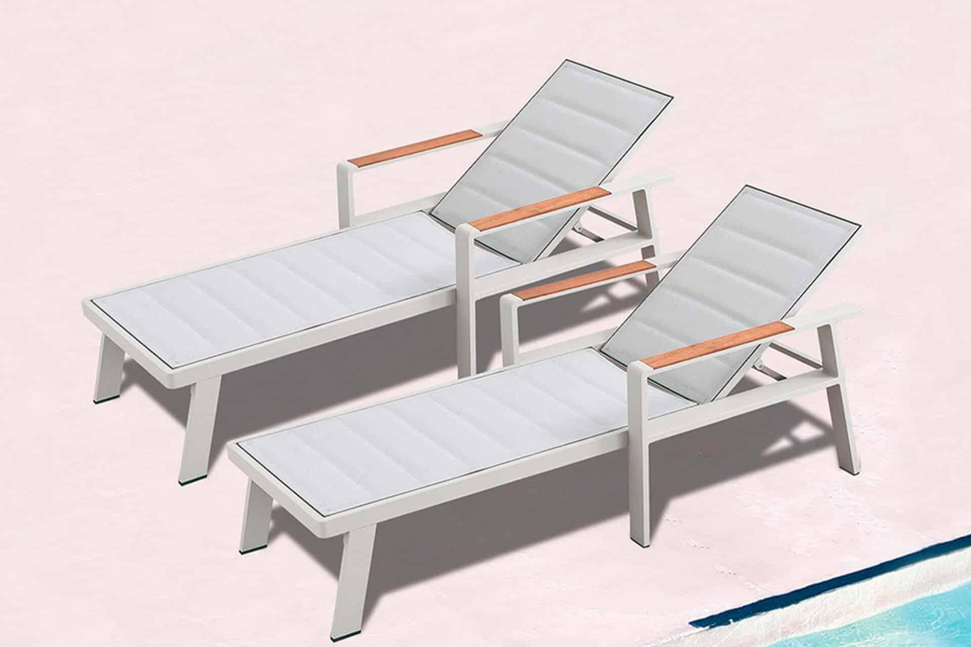 Asoleadora de mobiliario de exterior con soporte de madera