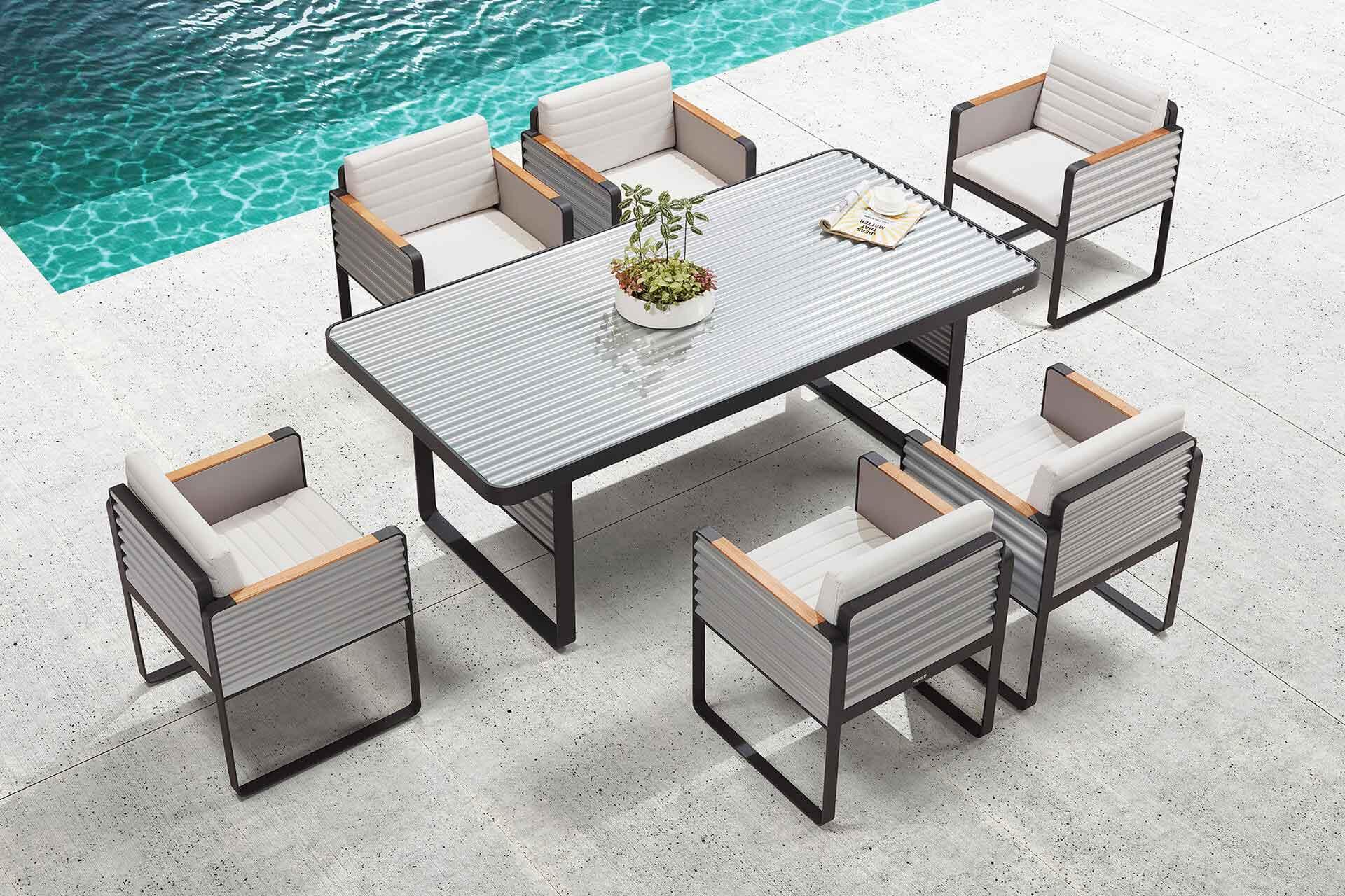Set de comedor de mueble de exteriores de diseño industrial